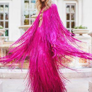 chiara ferragni milano fashion week vestito frange pucci