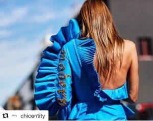 anna dello russo milano fashion week 2017 vestito monospalla gucici