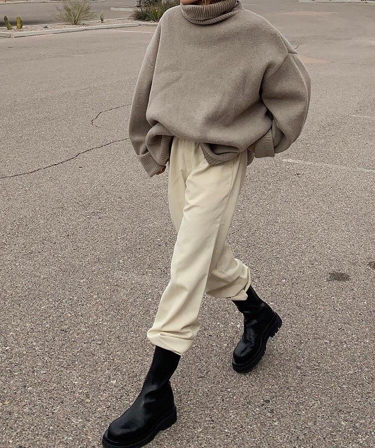 outfit insto chunky boots Bottega Veneta